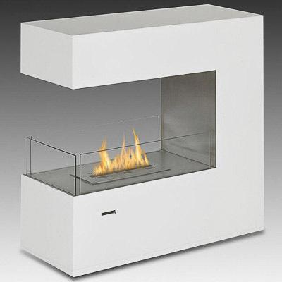 Foyer de sol l 39 thanol eco feu paramount blanc lustr for Foyer electrique 3 faces